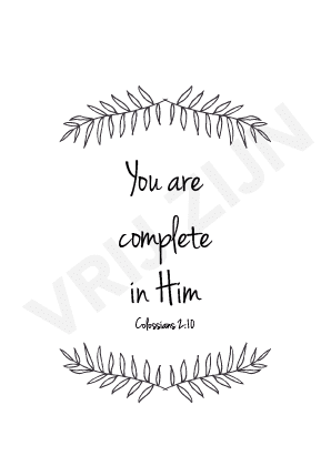 Kaartje - You are complete in Him
