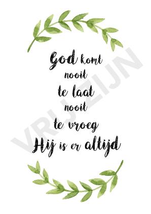 Kaartje - God komt nooit te laat